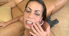 Seductive latina Jasmine rides the dick intensively and gets a fat facial cumshot