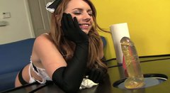 Whorish maid Lexi Belle dreams of winning a strong tool for riding it