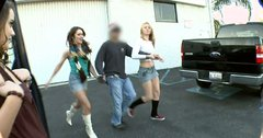 Horny white trash chicks Natasha Nice, Ami Emerson and Heather Hurley suck random guy
