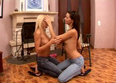 Sexy chicks Lana and Pandora undress each other on the floor