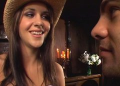 Delicious cowgirl Kinzie Kenner makes handsome dude eat her snatch