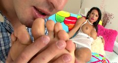 Nasty dude licks sour creme of Franceska Jaimes's sweet soles
