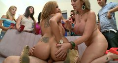 Dick milking party with Courtney Cummz, Sara Jay and Jamie Valentine