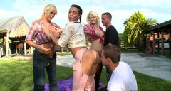Chubby cowgirls Rachel Starr, Karen Fisher and Marissa ride cocks on the ranch