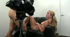 Skinny blonde Becky Lynn rides the dick intensively