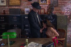 Amazing secretary Kirsten Price gives a stout blowjob to her boss