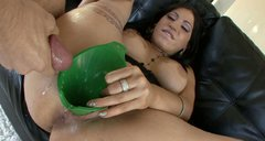 Thick full figured lady Daisy Cruz gets a cumshot deposit through the funnel