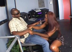 Chocolate girl Angel Eyes gives slubbery blowjob