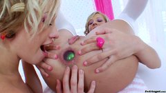Gorgeous anal sluts Chastity Lynn and Proxy Paige use jumbo-sized dildos