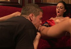 Beautiful bitch Stephanie Cane gets her pussy licked up skirt and later hammered in a missionary position