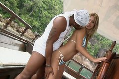 Fantastic young chick Bianca Mello fucks black dude on the boat