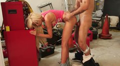 Busty blonde teen Rikki Six takes it up her snapper at the garage