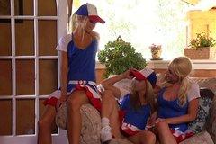Whorable cheer leaders Lindsey Meadows, Shawna Lenee, Franziska Facella eat each other's pussies