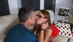Nerdy school freak Haley Sweet gives blowjob and rides dick