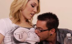 Lily LaBeau wets her t shirt and gets her boobies massaged and licked