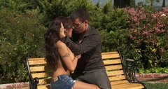 Exotic looking bitch Kaylani Lei fucks in a public park