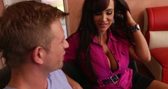 Desperate housewife Lisa Ann seduces the handsome guy and gets pleased seductively