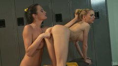Alektra Blue and Jana Jordan show what cheerleader do in the locker room
