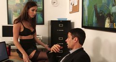 Sluttish office worker Casey Calvert gives an amazing blowjob to Alan Stafford