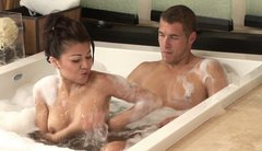 Cute Asian masseuse Jackie Lin accepts young customer