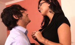 Gorgeous brunette babe Eva Angelina falls in love with brunette macho