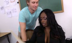 Black like coal chick Jada Fire rides her teacher's cock