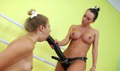 Two slim ballerinas Chastity Lynn, Franceska Jaimes get ready their assholes for drilling