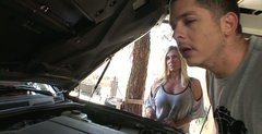 Lustful blonde MILF Devon Lee gives blowjob to her mechanic