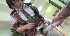 Unattractive school chick Mayu Nakane lets mature man touch her privates