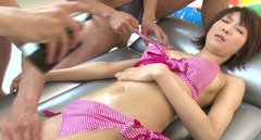 Naughty japanese whore Hazuki Miria is toy fucked and gets an oily massage