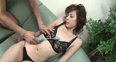 Dirty slut  Rino Asuka is pleased with a dildos till she cums
