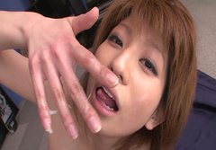 Pretty redhead cutie Rei Sasaki gagging cock and swallows the whole jizz