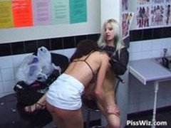 Public bathroom lesbian sex with two