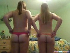 Two hot girls naked on webcam and teasing
