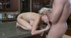 Blonde bitch Britney Beth fucks her man in kitchen