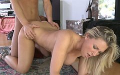 Busty blonde housewife Devon Lee rides cock on the floor