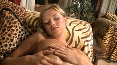 Gorgeous young blonde cutie oils up her perfect body