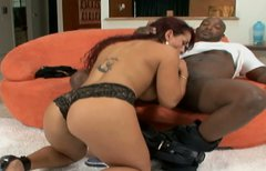 Curvy redhead latina MILF Tiffany Torres takes BBC up her tiny asshole