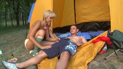 Sexy blonde teen with braided hair blows cock on a picnic