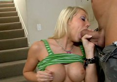 Shawna Lenee sucks  dick and plays with her breasts.