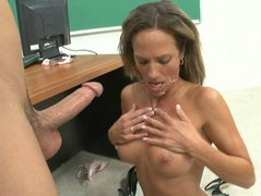 Blonde school teacher Montana Skye wants hot student cum