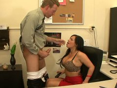 Full of lust bbw brunette Kerry Louise fucks and gives a blowjob in office.