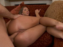 Small dick pins Kelly Divine's asshole and tries to make her cum
