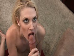 Golden hair girl Alexandra sucks long cock and gets cumshot on her breast