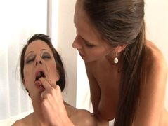 Hot brunette Mischell and her lover pussy licking hard
