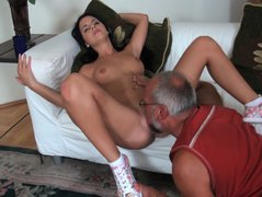 Young  beauty Jessyka Swan plays with old daddy. Part 2