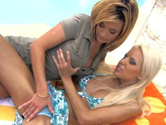 Hot babes Chloe Delaure and Boroka Balls toying each other