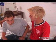 Peroxide blonde twink suck and ride anally a big cock