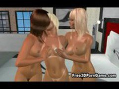 Three sexy 3D cartoon lesbian honeys doing the nasty