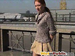 Popsy pee-splashes her legs in public